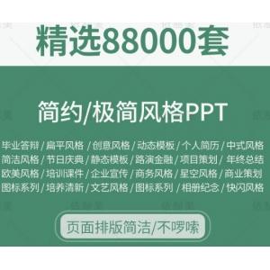 88000套极简ppt模板 大气高端工作汇报毕业答辩教学课件简约演讲素材